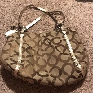 Coach logo tote with gold trim